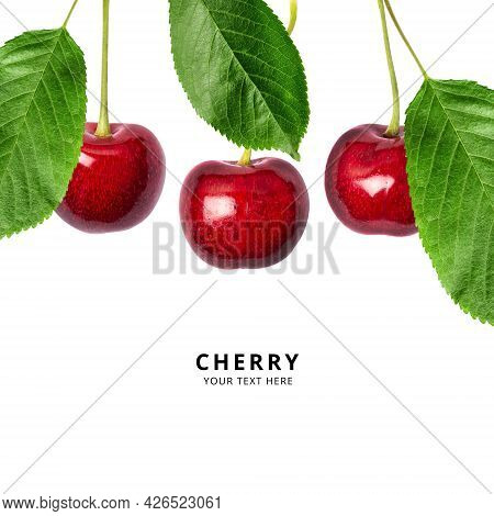 Ripe Red Sweet Cherry Isolated On White Background. Macro Photo Close Up. Three Cherries With Green