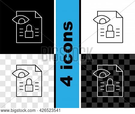 Set Line Journalistic Investigation Icon Isolated On Black And White, Transparent Background. Financ