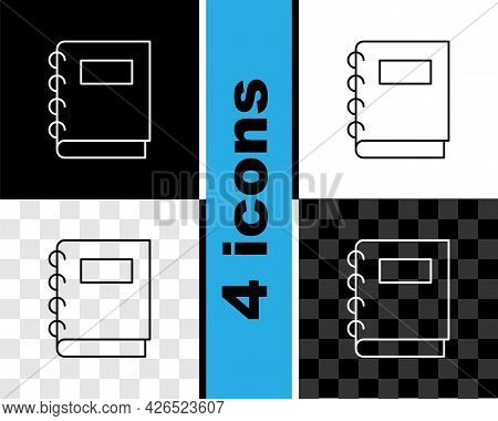 Set Line Notebook Icon Isolated On Black And White, Transparent Background. Spiral Notepad Icon. Sch