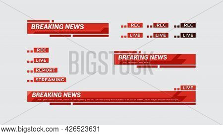 Broadcast News Lower Third Template For Television, Video And Media Channel. Vector Illustration Tem