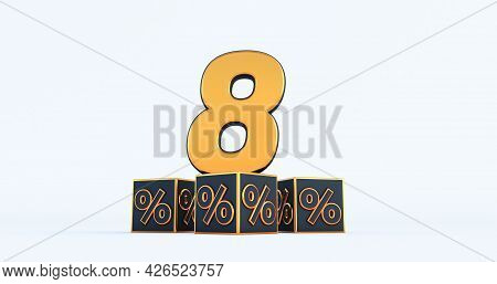 Gold Eight 8 Percent Number With Black Cubes  Percentages Isolated On A White Background. 3d Render