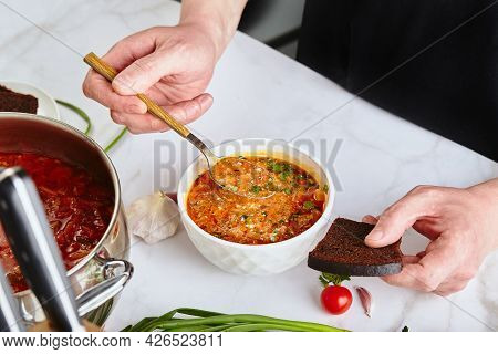 Ukrainian And Russian Traditional Red Beet Soup Borsch, Made From Beets, Cabbage, Potatoes, Beef And