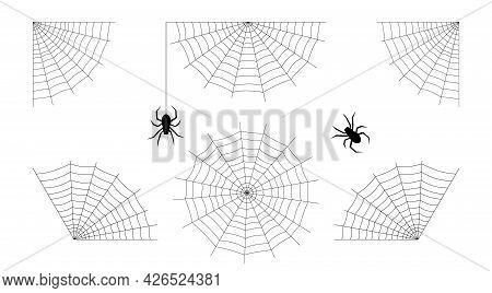 Cobwebs And Spiders Set. Halloween Design Illustration.