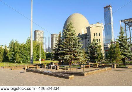 Nur-sultan - Kazakhstan: June 10, 2021: Center Of Nur-sultan, View Of Abu Dhabi Plaza, Kazakhstans N