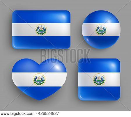 Set Of Glossy Buttons With Salvador Country Flag. Central America Country National Flag, Shiny Geome