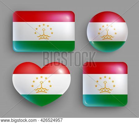 Set Of Glossy Buttons With Tajikistan Country Flag. Middle Asia Country National Flag, Shiny Geometr