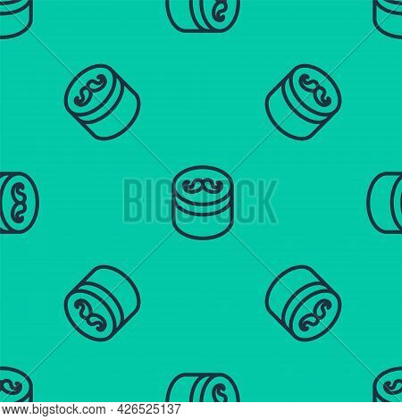 Blue Line Gel Or Wax For Hair Styling Icon Isolated Seamless Pattern On Green Background. Hair Cosme
