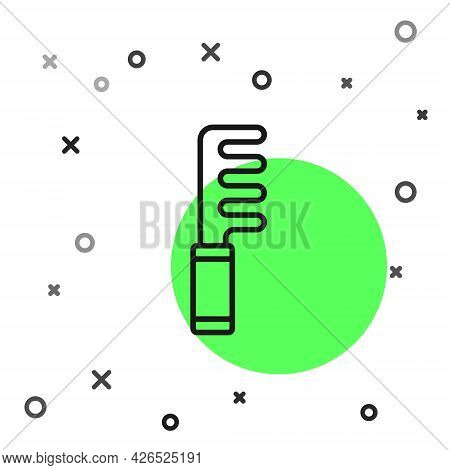 Black Line Hairbrush Icon Isolated On White Background. Comb Hair Sign. Barber Symbol. Vector