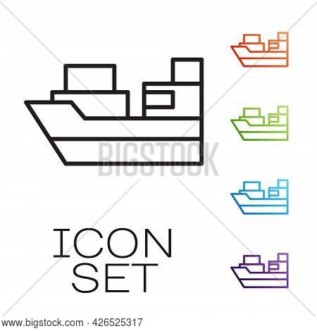 Black Line Cargo Ship With Boxes Delivery Service Icon Isolated On White Background. Delivery, Trans