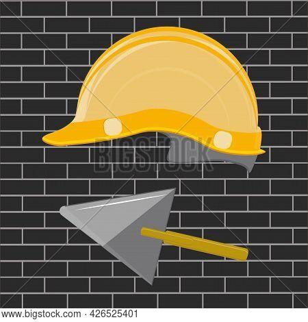 Builder Helmet, Trowel - Dark Brick Background - Vector. Poster. Banner. Builder's Day.
