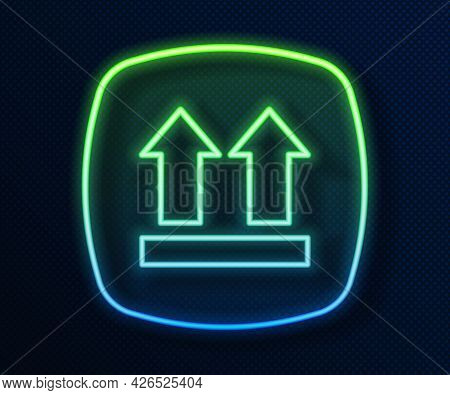 Glowing Neon Line This Side Up Icon Isolated On Blue Background. Two Arrows Indicating Top Side Of P