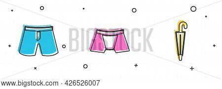 Set Short Or Pants, Men Underpants And Umbrella Icon. Vector