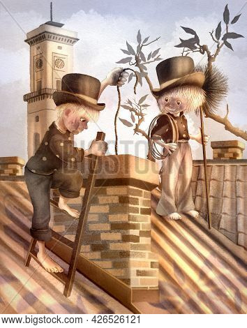 Children's Raster Illustration. Boy And Girl Chimney Sweeps Are Cleaning The Chimney On The Roof Of