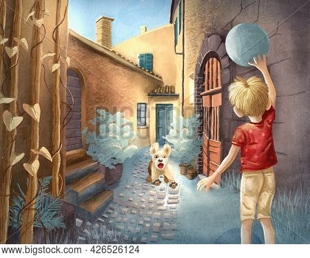 Children's Raster Illustration. Little Boy Plays Ball With His Puppy. Cozy Green Courtyard. The Pupp