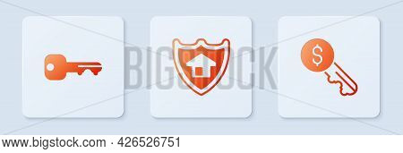 Set House With Shield, Key And Rent. White Square Button. Vector