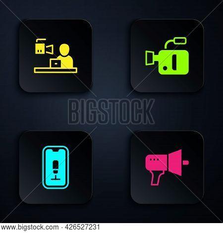 Set Megaphone, Breaking News, Mobile Recording And Cinema Camera. Black Square Button. Vector