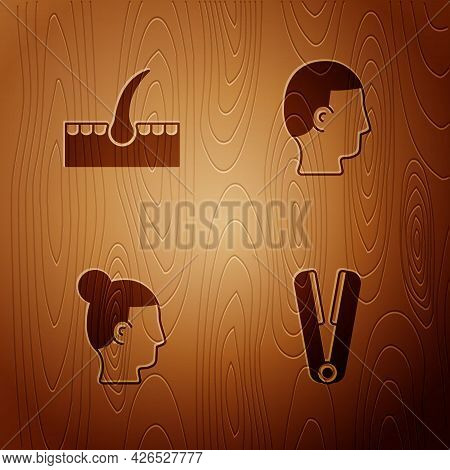 Set Curling Iron For Hair, Human Follicle, Hairstyle Men And On Wooden Background. Vector