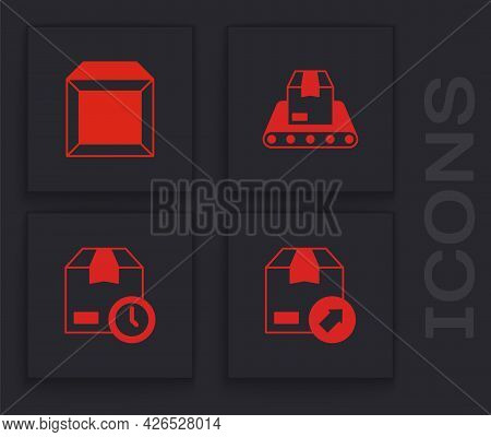 Set Carton Cardboard Box, Conveyor Belt With And Cardboard Clock Icon. Vector