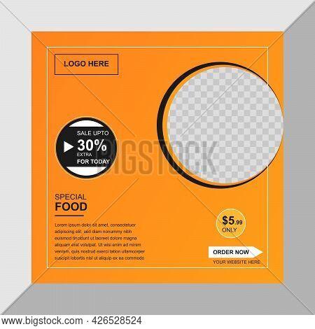 Restaurant Social Media Banner Design Template Vector