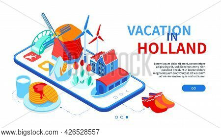 Vacation In Holland - Colorful Isometric Web Banner