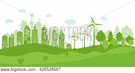 Concept Green City With Renewable Energy Sources. Ecological City And Environment Conservation. Gree