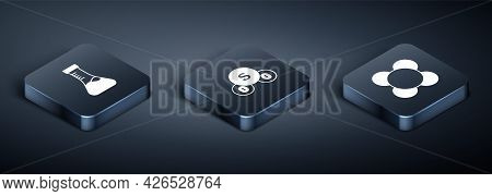 Set Isometric Test Tube, Molecule And Sulfur Dioxide So2 Icon. Vector
