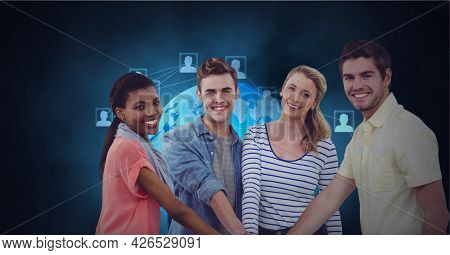 Composition of network of digital icons and globe over people hand stacking. global business, digital interface, technology and networking concept digitally generated image.