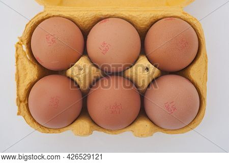 A Back Of Six Eggs In A Carton