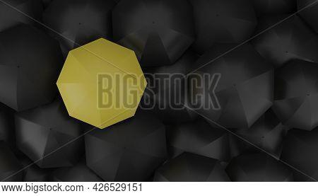 Yellow Umbrella Outstanding From Group Of Black Or Dark Umbrellas 3d Rendering Illustration