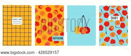 Cover Page Vector Templates With Painted Cherries And Gridlines. Headers Isolated And Replaceable