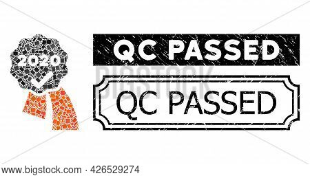 Mosaic 2020 Approve Award Composed Of Rectangle Elements, And Black Grunge Qc Passed Rectangle Badge