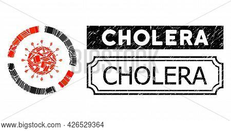 Collage Covid Diagram Designed From Rectangle Items, And Black Grunge Cholera Rectangle Badge With N