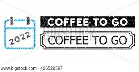 Mosaic 2022 Calendar Designed From Rectangle Elements, And Black Grunge Coffee To Go Rectangle Seal