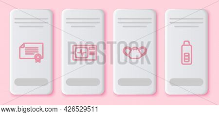 Set Line Certificate Template, Monitor With Cardiogram, Medical Protective Mask And Digital Thermome
