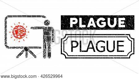 Mosaic Coronavirus Lecture Composed Of Rectangle Items, And Black Grunge Plague Rectangle Seal Stamp