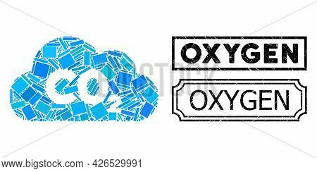 Collage Co2 Gas Cloud Constructed From Rectangle Items, And Black Grunge Oxygen Rectangle Seal Stamp