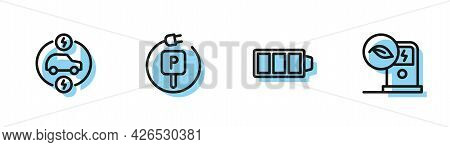 Set Line Battery Charge, Electric Car, Charging Parking Electric And Charging Station Icon. Vector