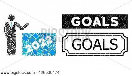 Mosaic 2022 Showing Man Constructed From Rectangle Items, And Black Grunge Goals Rectangle Stamp Wit