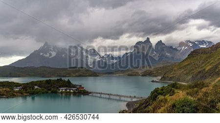 House On The Island In Lake Pehoe, Torres Del Paine National Park, Patagonia, Chile