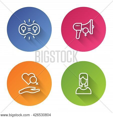 Set Line Gender Equality, Feminist Activist, Heart With Female Gender And Female. Color Circle Butto