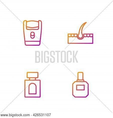 Set Line Aftershave, Electric Razor Blade And Human Hair Follicle. Gradient Color Icons. Vector