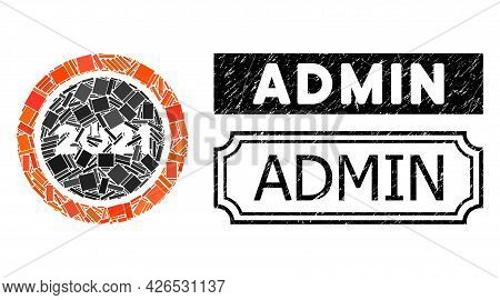 Collage Start 2021 Round Button Composed Of Rectangular Items, And Black Grunge Admin Rectangle Seal