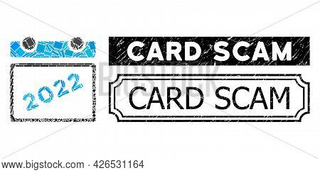 Mosaic 2022 Calendar United From Rectangle Elements, And Black Grunge Card Scam Rectangle Badge With
