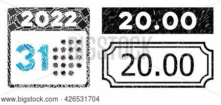 Collage Last 2022 Day Composed Of Rectangular Items, And Black Grunge 20.00 Rectangle Seal Stamp Wit