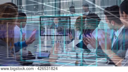 Composition of network of digital screens over people clapping in business video meeting. global business, digital interface, technology and networking concept digitally generated image.