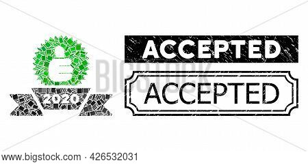 Mosaic 2020 Award Ribbon Composed Of Rectangular Items, And Black Grunge Accepted Rectangle Badge Wi