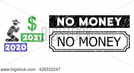 Collage Gentleman Pray Dollar 2021 Designed From Rectangle Parts, And Black Grunge No Money Rectangl
