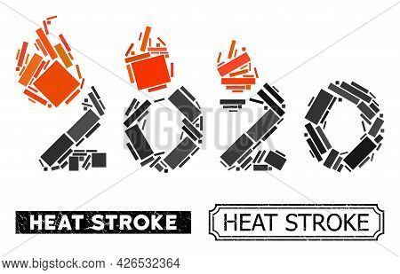 Collage Fired 2020 Year Composed Of Rectangle Elements, And Black Grunge Heat Stroke Rectangle Seal