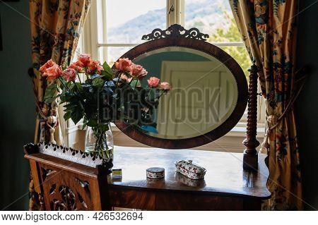 Velke Brezno, Czech Republic, 26 June 2021: Chateau Velke Brezno, Castle Interior Of Bedroom, Wooden