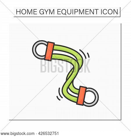 Exercise Bands Color Icon. Elastic Resistance Band. Concept Of Body Muscle Workout, Intensive Home T